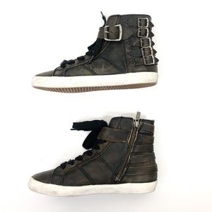 Frye Shoes - Frye Dylan Belted High Top Sneakers Rugged Leather